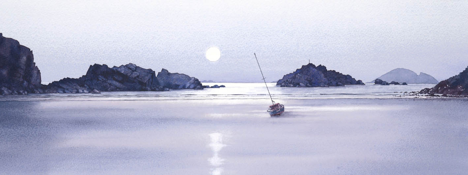 Pale moon rising Solva